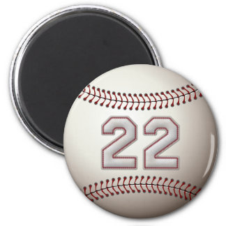 Player Number 22 - Cool Baseball Stitches 2 Inch Round Magnet