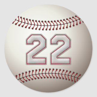 Player Number 22 - Cool Baseball Stitches Classic Round Sticker