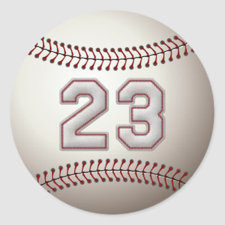 Player Number 23 - Cool Baseball Stitches Classic Round Sticker