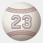 Player Number 23 - Cool Baseball Stitches Round Sticker