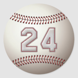 Player Number 24 - Cool Baseball Stitches Classic Round Sticker