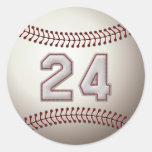 Player Number 24 - Cool Baseball Stitches Round Sticker