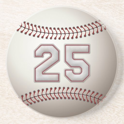 Player Number 25 - Cool Baseball Stitches Drink Coaster
