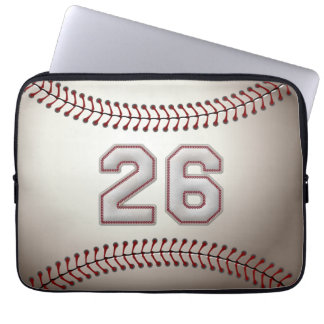 Player Number 26 - Cool Baseball Stitches Laptop Sleeve