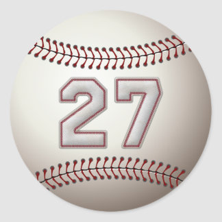 Player Number 27 - Cool Baseball Stitches Classic Round Sticker