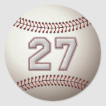 Player Number 27 - Cool Baseball Stitches Sticker