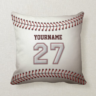 Player Number 27 - Cool Baseball Stitches Throw Pillow