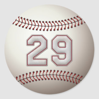 Player Number 29 - Cool Baseball Stitches Classic Round Sticker