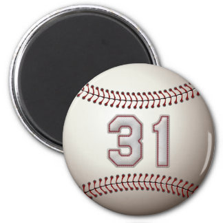 Player Number 31 - Cool Baseball Stitches 2 Inch Round Magnet