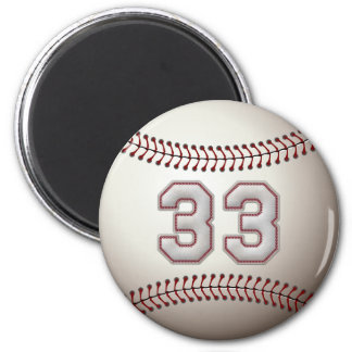 Player Number 33 - Cool Baseball Stitches 2 Inch Round Magnet