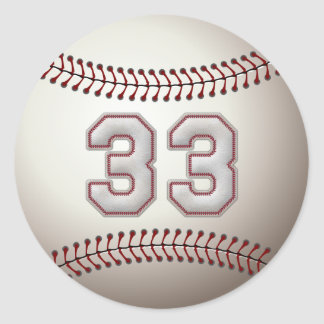 Player Number 33 - Cool Baseball Stitches Classic Round Sticker