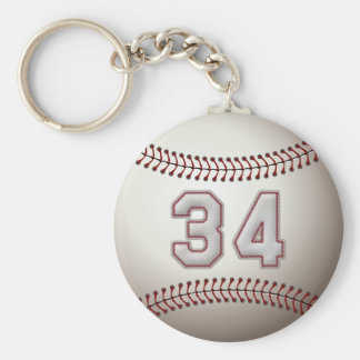 Player Number 34 - Cool Baseball Stitches Keychain