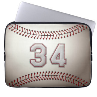 Player Number 34 - Cool Baseball Stitches Laptop Sleeve