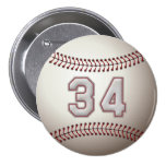 Player Number 34 - Cool Baseball Stitches Pins