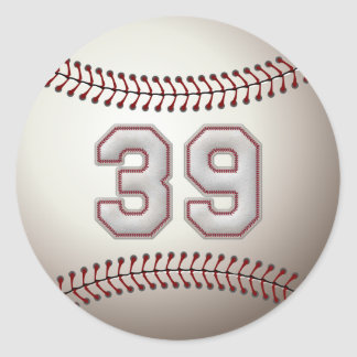 Player Number 39 - Cool Baseball Stitches Classic Round Sticker
