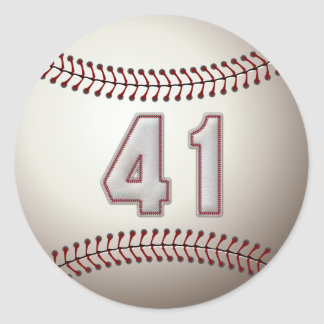 Player Number 41 - Cool Baseball Stitches Classic Round Sticker