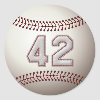Player Number 42 - Cool Baseball Stitches Classic Round Sticker