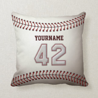 Player Number 42 - Cool Baseball Stitches Throw Pillow
