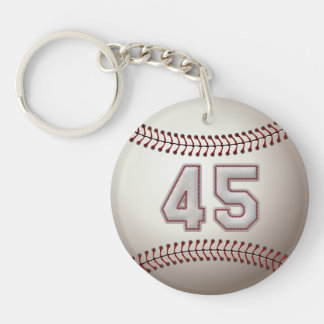 Player Number 45 - Cool Baseball Stitches Double-Sided Round Acrylic Keychain