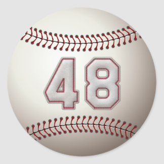 Player Number 48 - Cool Baseball Stitches Classic Round Sticker