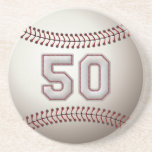 Player Number 50 - Cool Baseball Stitches Coaster