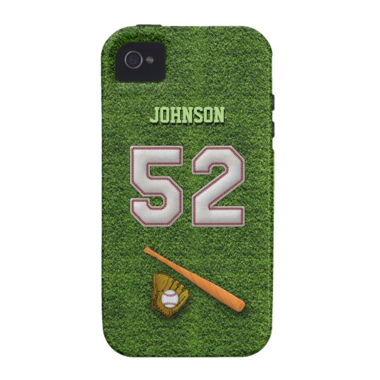 Player Number 52 - Cool Baseball Stitches iPhone 4 Case