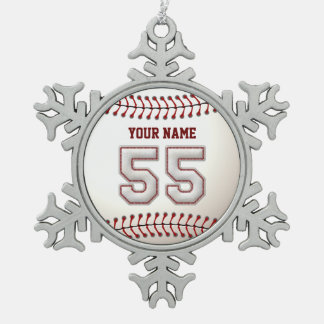 Player Number 55 - Cool Baseball Stitches Snowflake Pewter Christmas Ornament