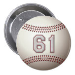 Player Number 61 - Cool Baseball Stitches Pins