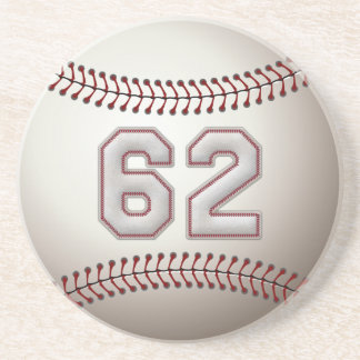 Player Number 62 - Cool Baseball Stitches Drink Coaster