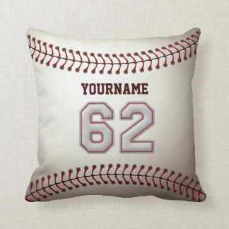 Player Number 62 - Cool Baseball Stitches Throw Pillow