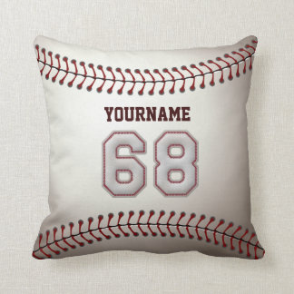Player Number 68 - Cool Baseball Stitches Throw Pillow