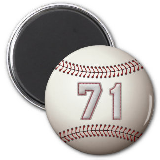 Player Number 71 - Cool Baseball Stitches 2 Inch Round Magnet