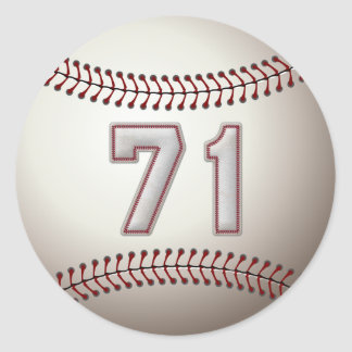 Player Number 71 - Cool Baseball Stitches Classic Round Sticker