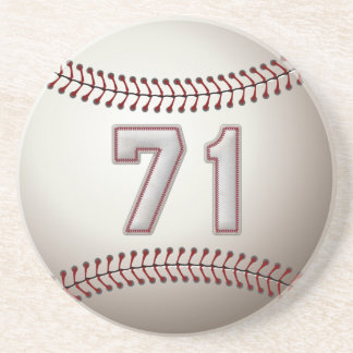 Player Number 71 - Cool Baseball Stitches Coaster