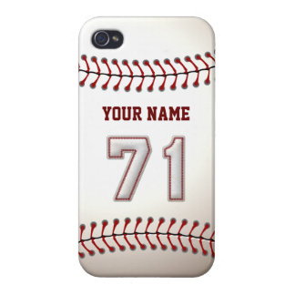 Player Number 71 - Cool Baseball Stitches iPhone 4 Case