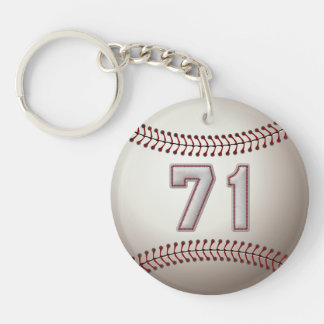 Player Number 71 - Cool Baseball Stitches Keychain
