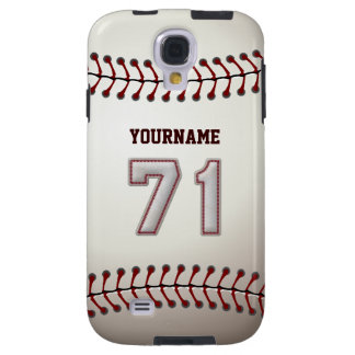 Player Number 71 - Cool Baseball Stitches Look Galaxy S4 Case