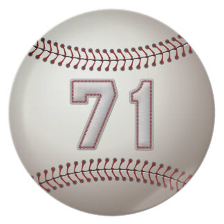 Player Number 71 - Cool Baseball Stitches Plate