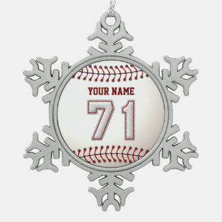 Player Number 71 - Cool Baseball Stitches Snowflake Pewter Christmas Ornament