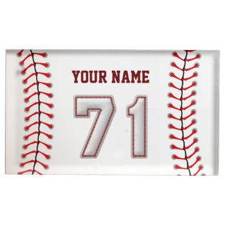 Player Number 71 - Cool Baseball Stitches Table Number Holder