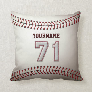 Player Number 71 - Cool Baseball Stitches Throw Pillow
