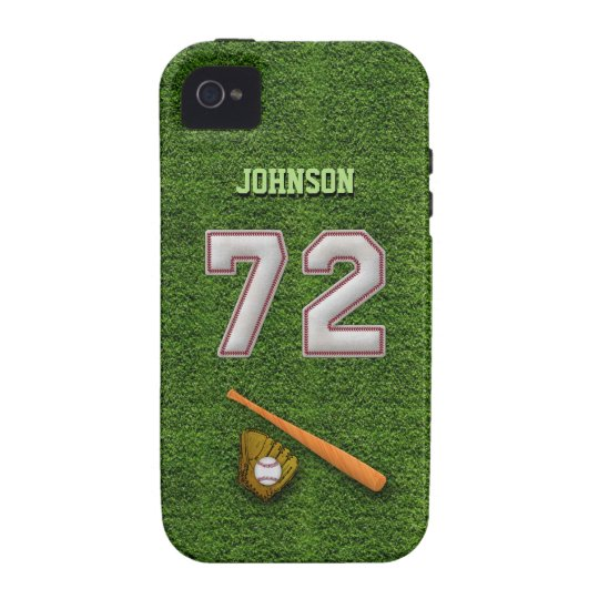 Player Number 72 - Cool Baseball Stitches Case-Mate iPhone 4 Cover