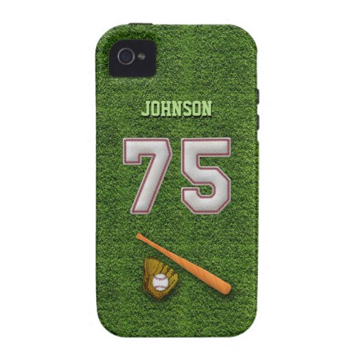 Player Number 75 - Cool Baseball Stitches iPhone 4 Cases