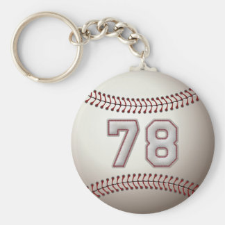 Player Number 78 - Cool Baseball Stitches Keychain