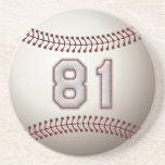 Player Number 81 - Cool Baseball Stitches Drink Coasters