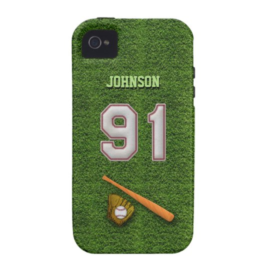 Player Number 91 - Cool Baseball Stitches iPhone 4 Case