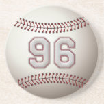 Player Number 96 - Cool Baseball Stitches Drink Coaster