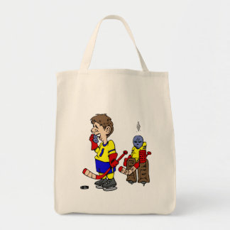 Player on the Phone Angry Goalie Tote Bag