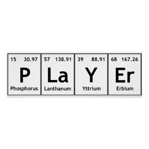 Words periodic table elements symbols posters zazzle player periodic table elements words chemistry poster urtaz Gallery