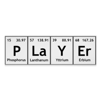 PLaYEr Periodic Table Elements Words Chemistry Poster